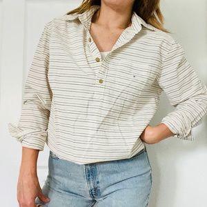 American Eagle // NWT Striped Quarter Button Top